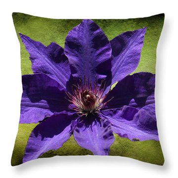 Clematis On Stone Throw Pillow