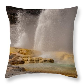 Clepsydra Geyser Yellowstone National Park Throw Pillow