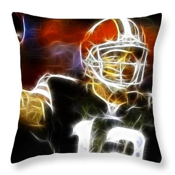 Cleveland Browns Colt Mccoy Throw Pillow by Paul Van Scott