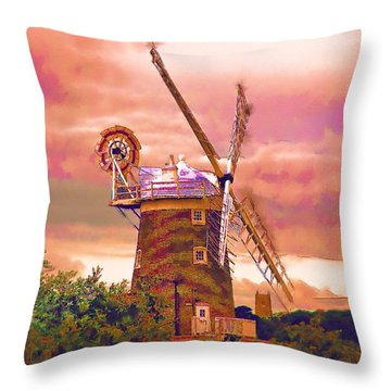 Cley Windmill 2 Throw Pillow by Chris Thaxter