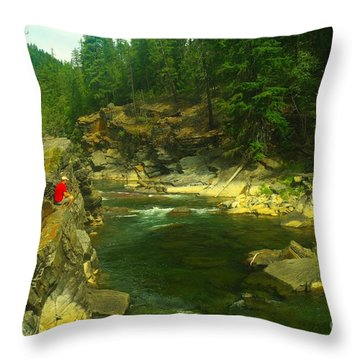 Cliff Over The Yak River Throw Pillow by Jeff Swan