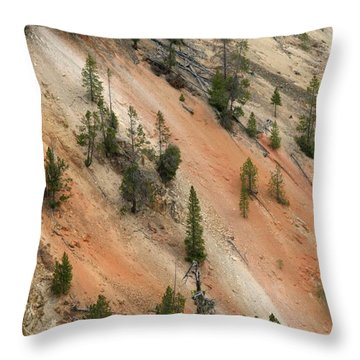 Throw Pillow featuring the photograph Cliff Side Grand Canyon Colors Vertical by Living Color Photography Lorraine Lynch