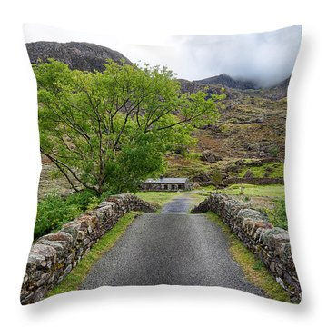 Climbers Lodge Throw Pillow by Adrian Evans