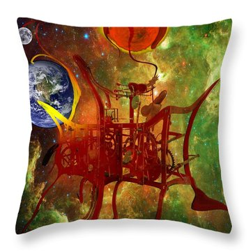 Clock Of Universe Throw Pillow by Helmut Rottler