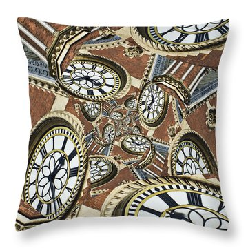 Clocked Throw Pillow by Clare Bambers