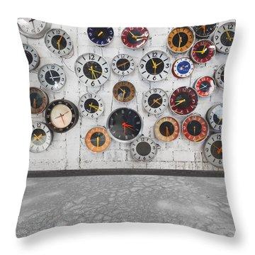 Clocks On The Wall Throw Pillow by Setsiri Silapasuwanchai