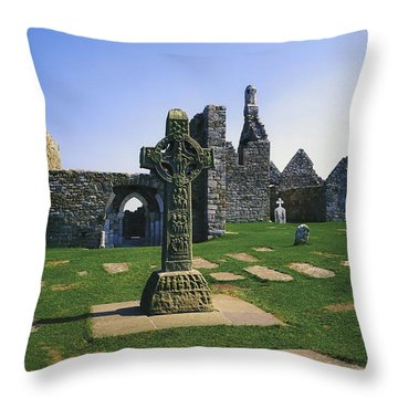 Clonmacnoise, Co Offaly, Ireland, West Throw Pillow by The Irish Image Collection