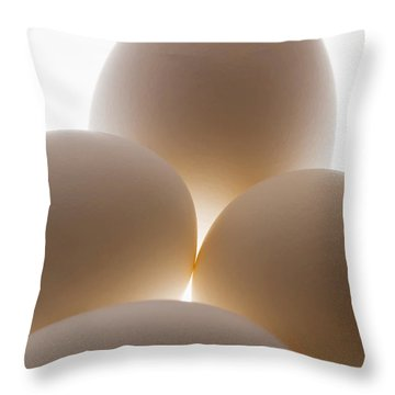 Close Up Of A Group Of Eggs Calgary Throw Pillow by Michael Interisano