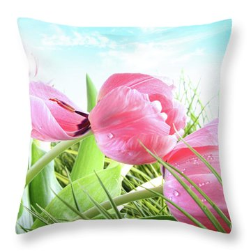 Close-up Of  Spring Tulips  Throw Pillow by Sandra Cunningham