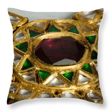 Close Up Of The Middle Pendant Section Of A Green And White Stone Inlaid Necklace Throw Pillow by Ashish Agarwal