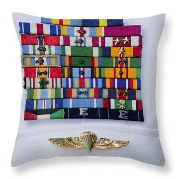 Close-up View Of Military Decorations Throw Pillow by Michael Wood