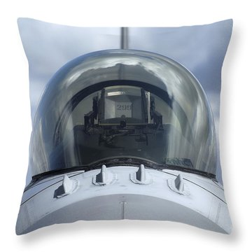 Close-up View Of The Canopy On A F-16a Throw Pillow by Ramon Van Opdorp