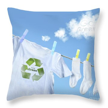 Clothes Drying On Clothesline With Go Green Sign  Throw Pillow by Sandra Cunningham