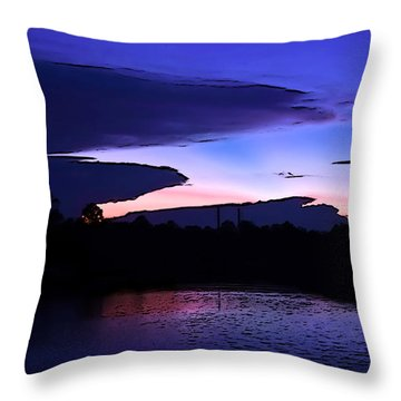 Throw Pillow featuring the photograph Clouded Sunset Over The Tomoka by DigiArt Diaries by Vicky B Fuller