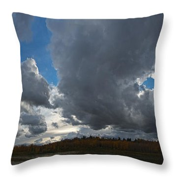 Clouds And River Edmonton Throw Pillow
