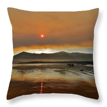 Clouds And Sun In A Smoky Sky Throw Pillow