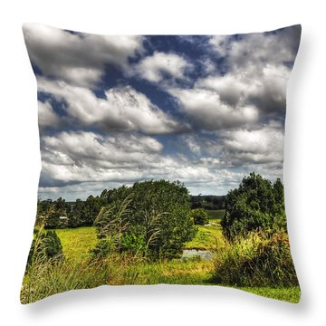 Clouds Floating Over Green Countryside Throw Pillow by Kaye Menner
