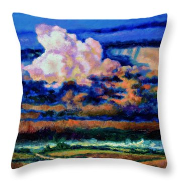 Clouds Over Country Road Throw Pillow by John Lautermilch