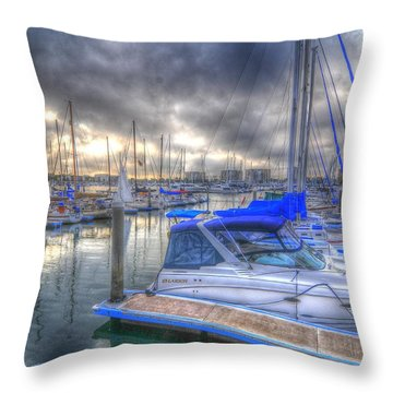 Clouds Over Marina Throw Pillow