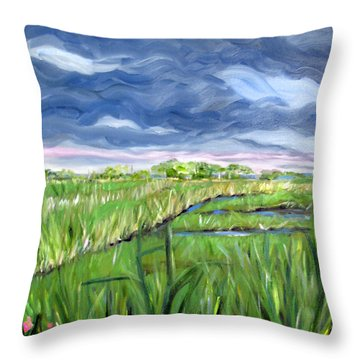 Cloudy Marsh Throw Pillow by Clara Sue Beym