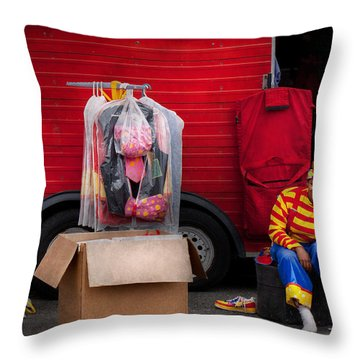 Clown - Wardrobe Change Throw Pillow by Mike Savad