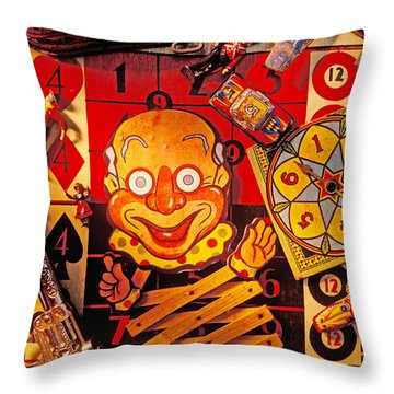 Clown Toy And Old Playthings Throw Pillow by Garry Gay