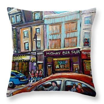 Club Soda Nightclub Throw Pillow by Carole Spandau