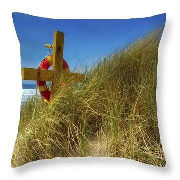 Co Down, Ireland Lifebelt Throw Pillow by The Irish Image Collection