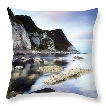 Coast Between Carnlough & Waterfoot, Co Throw Pillow by The Irish Image Collection