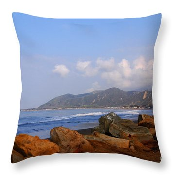 Coast Line California Throw Pillow by Susanne Van Hulst