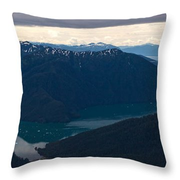 Coastal Range Fjords Throw Pillow