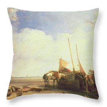 Coastal Scene In Picardy Throw Pillow by Richard Parkes Bonington