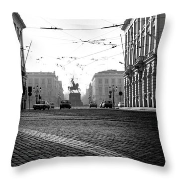Cobble Stone Streets In Old Brussels Throw Pillow by Peter Mooyman