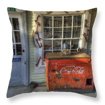 Coca Cola Cooler Randsburg Throw Pillow by Bob Christopher