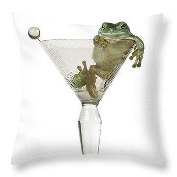 Cocktail Frog Throw Pillow by Darwin Wiggett