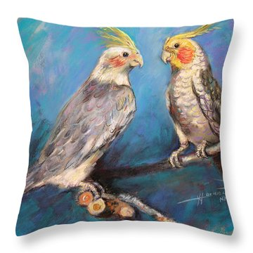 Coctaiel Parrots Throw Pillow by Ylli Haruni
