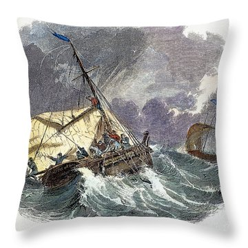 Cod Fishing In New England Throw Pillow by Granger