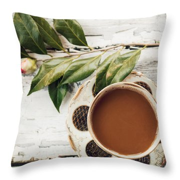 Coffee And Camellia Throw Pillow by Kim Fearheiley