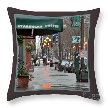 Coffee And Rain In Seattle Throw Pillow