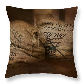 Coffee Beans In Burlap Bags Throw Pillow by Susan Candelario