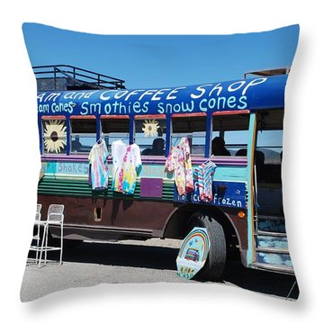 Coffee Bus Throw Pillow by Dany Lison