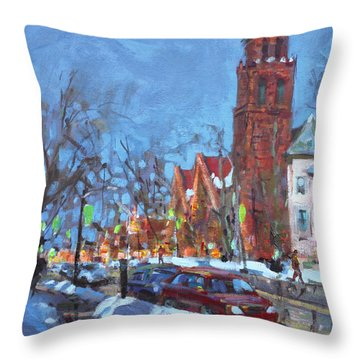 Cold Morning In Elmwood Ave  Throw Pillow