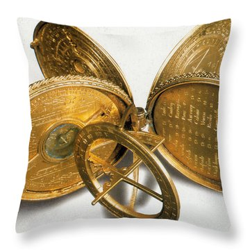 Cole Astronomical Compendium Dial, 1569 Throw Pillow by Science Source