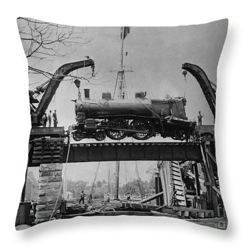 Collapsed Bridge And Train Recovery Throw Pillow by M E Warren and Photo Researchers