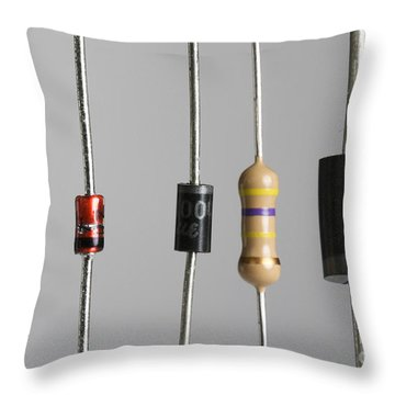Collection Of Electronic Components Throw Pillow by Photo Researchers