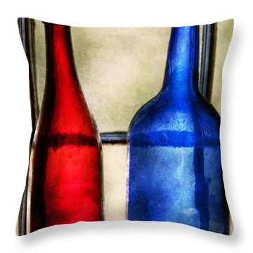 Collector - Bottles - Two Empty Wine Bottles  Throw Pillow by Mike Savad