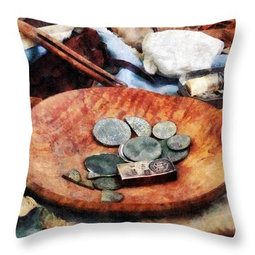 Colonial Coins Throw Pillow by Susan Savad