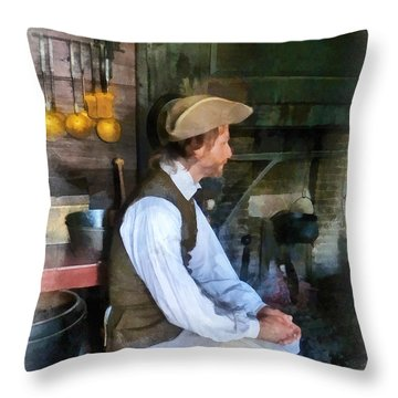 Colonial Man In Kitchen Throw Pillow by Susan Savad