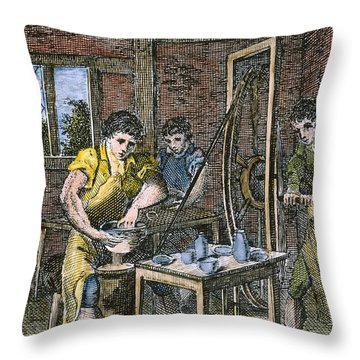 Colonial Potter, 18th C Throw Pillow