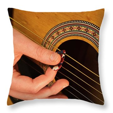 Color Guitar Picking Throw Pillow